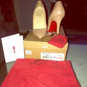 Size 6 Pigalle 100 Patent Nude Christian Louboutin